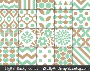 Mint Green and Tan Printable Paper, Digital Backgrounds, Light Green and Brown, Neutral Earth Tone, Chevron, Damask, Stripe, Quatrefoil, Dot
