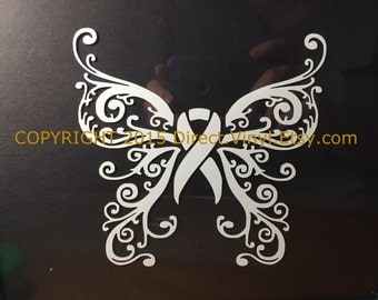 White Awareness Ribbon Fancy Butterfly Window Decal (Lung Cancer, Lung Disease, Blindness, Bone Cancer, Bone Disease, Retinoblastoma)