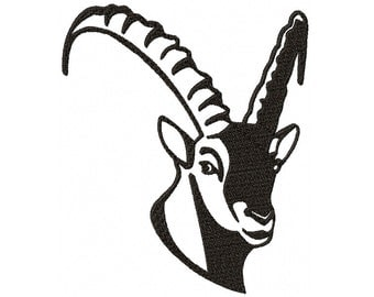 Embroidery file Ibex head for frames 17 x 20 embroidery file embroidery Ibex head
