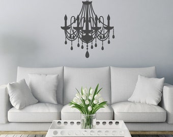 Country mansion style Chandelier silhouette with beads design living room, bedroom wall art sticker, decal, grand, antique