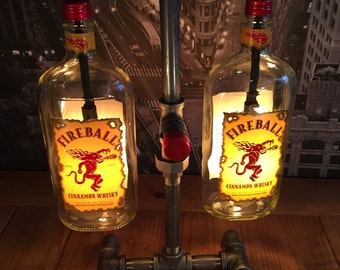 MADE TO ORDER Steampunk Industrial Cinnamon Whisky Bottle Pipe Lamp