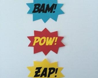 Set of Bam Pow Zap speech bubble Superhero craft scrapbooking embellishment party decoration paper die cut out super hero DIY comic sound