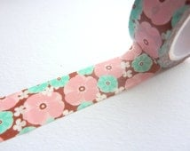 Vintage Pink and Teal on Burgundy Washi Tape  20mm x 5m