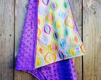 Baby girl pastel blanket - multicolored infant girl blanket - baby shower gift - minky baby blanket
