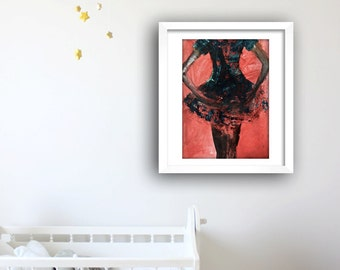 Red Ballet Dancer, Acrylic Ballet Dancer Artwork, Dancer Artwork, Dance, Dance Art, Ballerina