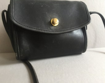 COACH Black Chrystie Leather Handbag Cross Body Bag # 9892 | Made in the US