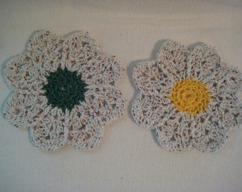 Set of 2 Large Cotton Flower Dish Wash Cloths