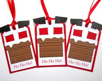 Chimney Christmas Gift Tags - Christmas Tags - Holiday Gift Tags - Christmas Gifts - Christmas Wrapping - Christmas Gift Wrap - Set of 5