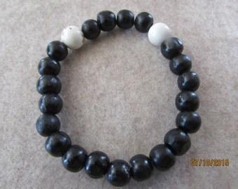White Turqoise and Black Wood Beads Bracelet