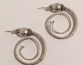 Vintage Sterling Silver 925 Swirled Hoop Drop Pierced Earrings Handcrafted Jewelry
