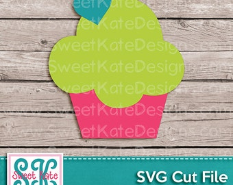 Cupcake SVG JPG PNG {Can be a Scrapbook Die Cut or Heat Transfer Vinyl Cut} Cricut Explore Silhouette - Instant Download Sweet Kate Designs