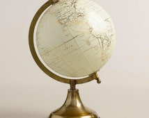 Customize me!! Hand painted globe, quote globe, floral globe, gold base world globe, gold globe