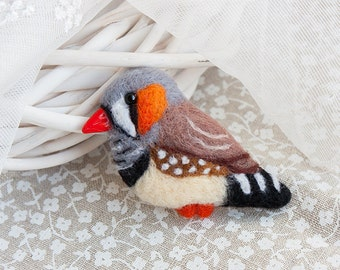 Zebra finch Parrot brooch Zebrafinch jewelry  Colorful brooch Animal jewelry Animal brooch for Her