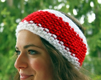 Headband red white christmas Knitted