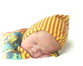 striped baby helmet hat, pixie hat, NB to 24 month, gender neutral, orange and yellow European cotton jersey knit, soft, comfortable fit