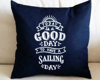 Nautical Blackboard Style Pillowcase - Sailing - Chalkboard Look Birthday Home Boat Decor Gift