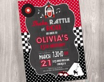 50s Birthday Invitation, Fifties Birthday Invitation, red black and white, Sock Hop Invitation, 50's Sock Hop Invitation, Printable