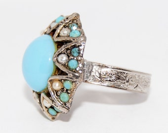 Native American Zuni ring with pale blue turquoise, sterling silver