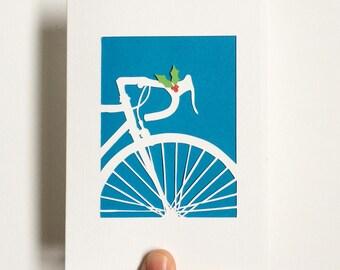 Handcut Bike Card with a litttle Christmas spirit