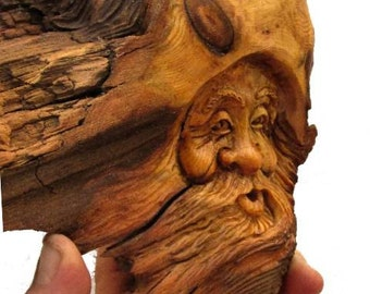 Wood Tree Gnome Spirit Carving Forest Hobbit Elf Wizard Sculpture Folk Art FREE SHIPPING