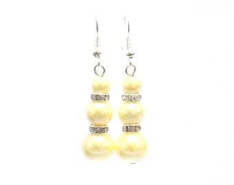Yellow earrings, pearl earrings, yellow pearl earrings, pearl drop earrings, dangle earrings, earrings, bridesmaid earrings, drop earrings