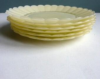 6 vintage French creamy yellow duralex plates, tea plates