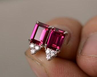 Lab Ruby Earrings Stud Silver