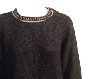 SALE: Charcoal Grey Wool Longsleeve Sweater - Size Large