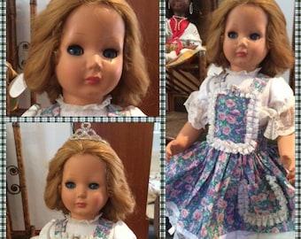 Vintage Brevettato Italian Doll All Original 1950s, Flirty Eyes, Pickup Only