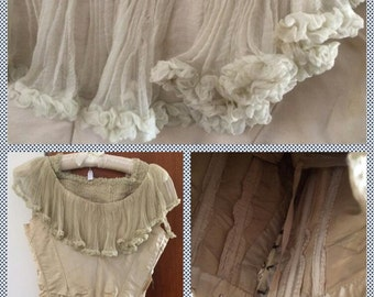 French Silk Antique Top, 1800s Handmade Silk Bustier with Stays, PRICE REDUCTION