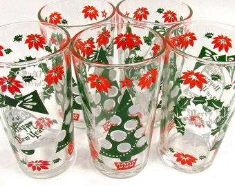 Set of 5 Vintage Merry Christmas/ Happy New Years Highball