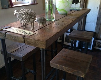 Industrial Style Reclaimed Scaffold Breakfast Bar and Four Stools
