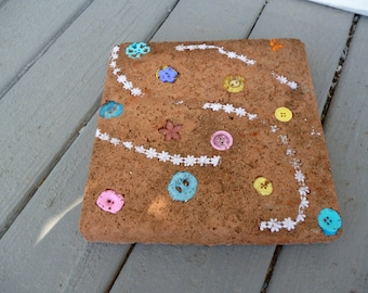 Buttons and Lace Terra Cotta Stepping Stone