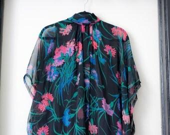 Dreamy Vintage 1970s Sheer Floral Maxi Quad Dress