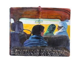 "Fine Art Print - Original Painting of Morocco from Artist Travel Journal - ""The Berber Bus"""