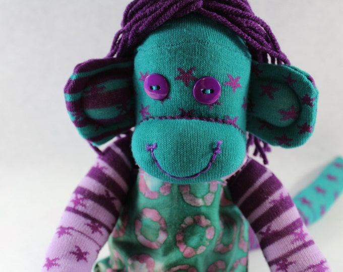 Featured listing image: Sock Monkey / Purple and Turquoise / Stars / Striped / Batik Dress / Purple and Green / Nursery Decor / Hippie / Gifts for Her / Unique Gift