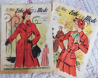 PAIR of enchanting vintage 1940s French Le Petit Echo de la Mode~Costume reference~Stunning illustrations~Patterns, fashions, adverts