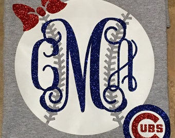 Preppy Chicago Cubs Baseball with Monogram. We can do any team!
