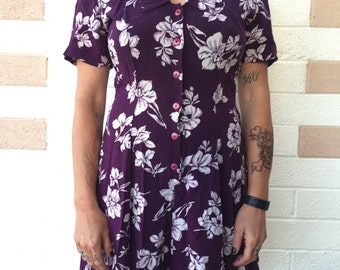 90s Floral print Belted Wide Legged Romper by Rampage size M/L