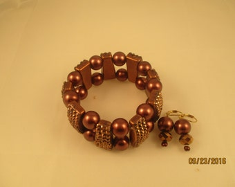 Brown Glass Bracelet and Earring Set