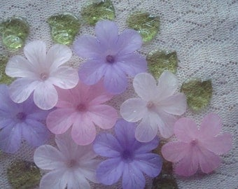 Promo! 20 Big Frosted Acrylic Flowers. 33x8mm. Biggest Pink and Lavender Purple Flower Beads. Lightweight & Lovely. ~USPS Ship Rates/ Oregon