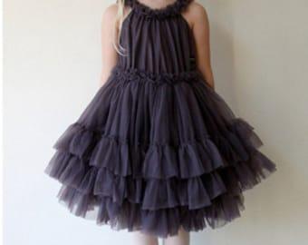 Girls Ruffled Chiffon Dance Dress in Dark Gray