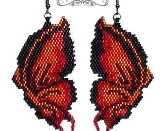 Handmade Beaded Earrings - Butterfly Effect Earrings 2 - Fire red butterfly earrings