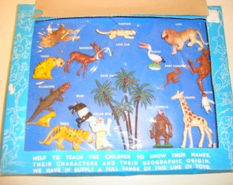 "1960s The ""Blue-Box"" Zoo Animals Set. Made in Hong Kong"