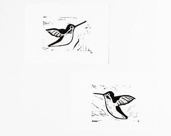 Hummingbirds Linocuts Set of Two 5x7 Prints