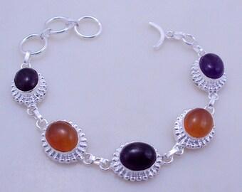 free shipping F-345 Stunning Citrine-Amethyst .925 Silver Handmade Jewelry Bracelet 21 Gr.