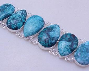 free shipping F-298 Stunning Azurite .925 Silver Jewelry Handmade Bracelet 66 Gr.