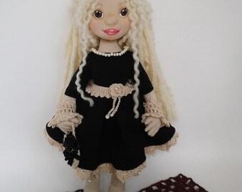 Textile Doll. Handmade fabric doll, rag doll, soft toy, original gift