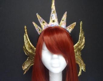 Mermaid headpiece, mermaid crown, mermaid fin ears, mermaid fins, golden mermaid fins, mermaid costume accessories