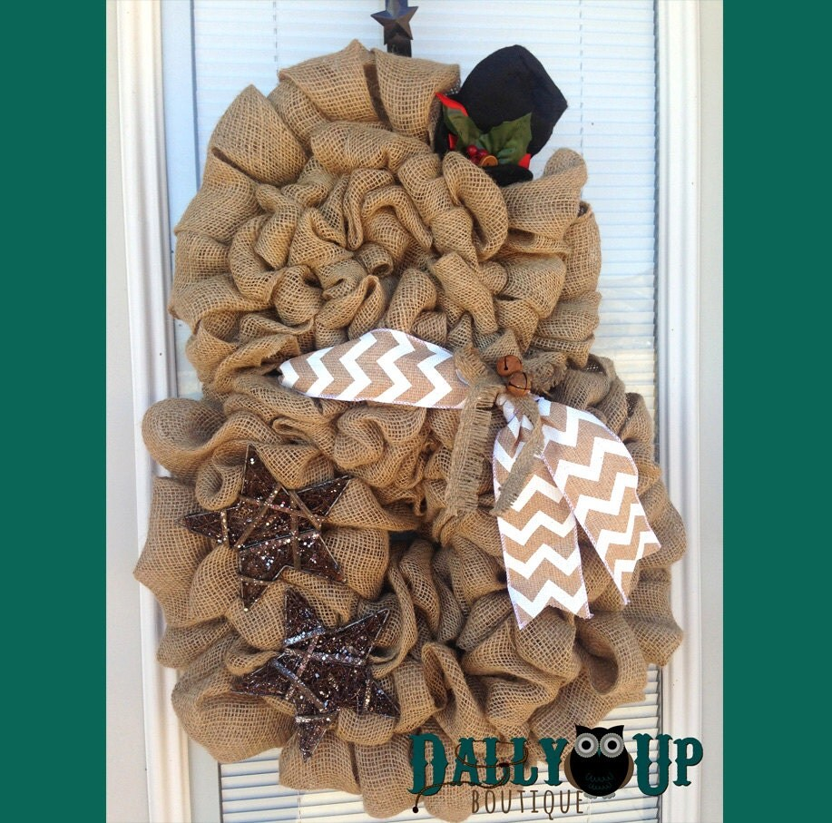 Snowman wreath snowman burlap wreath by dallyupboutique on for Snowman made out of burlap